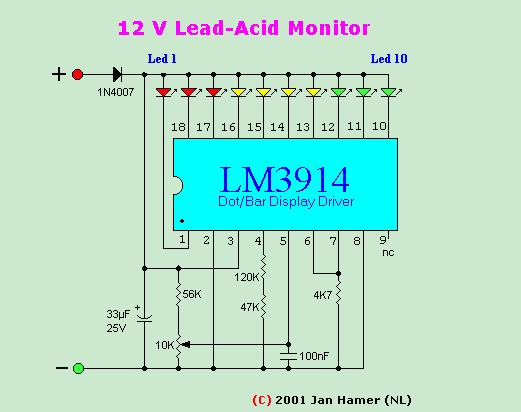 Alimentation Batteries besides 12 Volt Battery Monitor Circuit With LM3914 further Ebay F350 Diesel Electronics Cars Fashion also 12v Battery Diagram as well Charge Monitor For Lead Acid Battery. on 12v battery monitor circuit lm3914