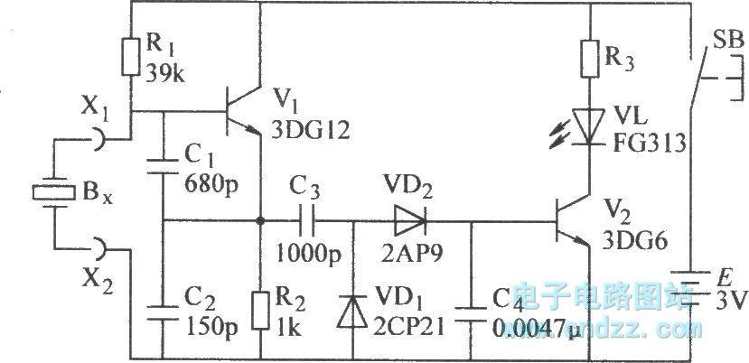 the quartz crystal oscillator test circuit diagramthe quartz crystal oscillator test circuit diagram