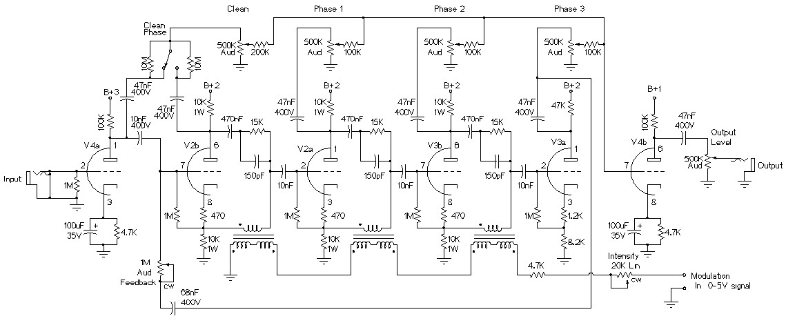 liquidator tube phaser  chorus effect - basic circuit - circuit diagram