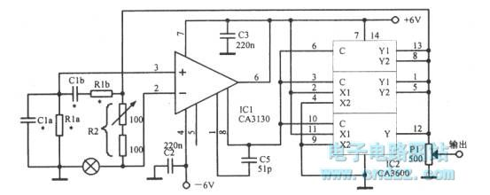 The capacitive adjustable Wien bridge oscillator with op amp