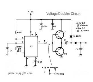 12V DC Voltage Doubler Circuit - Power_Supply_Circuit - Circuit ...