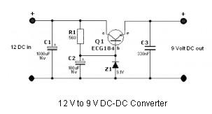 simple 12 volt to 9 volt dc dc converter power_supply_circuitsimple 12 volt to 9 volt dc dc converter