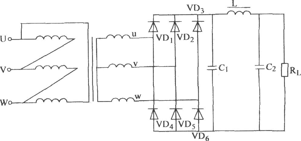 the three phase bridge rectifier pop n type filter circuit. Black Bedroom Furniture Sets. Home Design Ideas