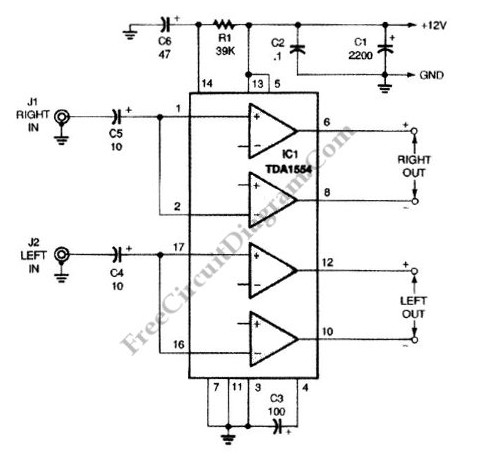 22w Amplifier Circuit For 12v Power Supply Systems
