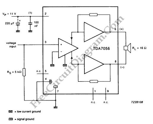 tda7056 3w btl mono audio power amplifier circuit diagram