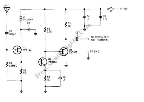 active antenna with gain (booster) circuit basic_circuit circuit