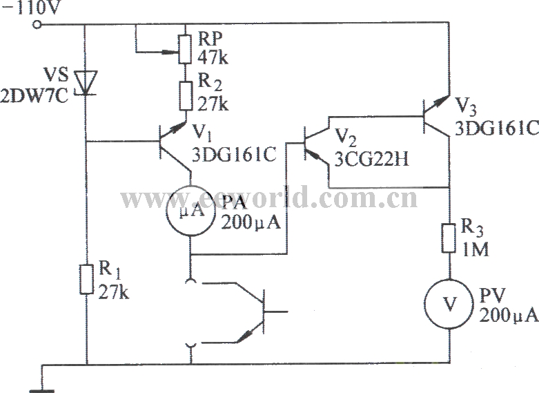 reverse breakdown voltage test circuit - measuring and test circuit - circuit diagram