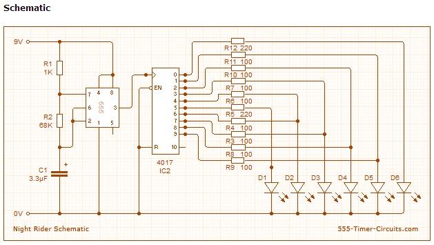 Knight Rider Circuit Basiccircuit Circuit Diagram Seekic