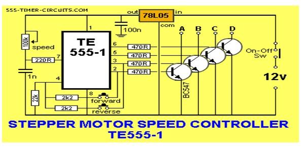 Stepper motor controller te555 1 circuit control circuit for Simple stepper motor circuit