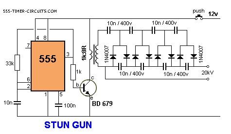 Stun Gun Circuit Basic Circuit Circuit Diagram