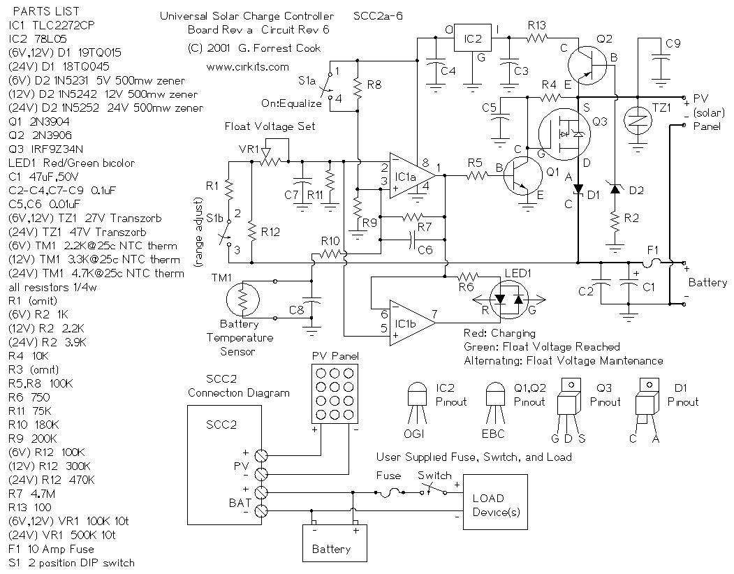 scc2 10 amp solar charge controller - control circuit - circuit diagram