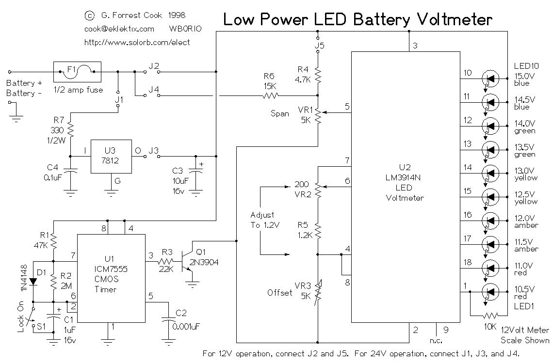 Low Power Led Voltmeter - Led And Light Circuit