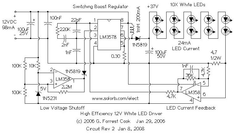 high efficiency 12v white led driver - led and light circuit - circuit diagram