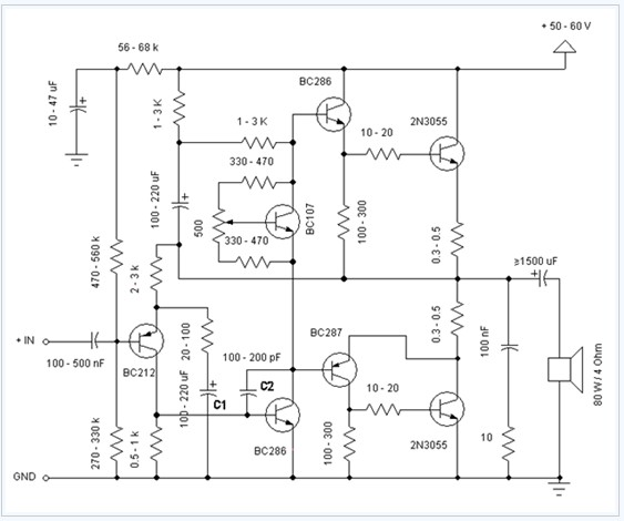 2n3055 power amplifier 60w electronic circuit diagram - amplifier circuit