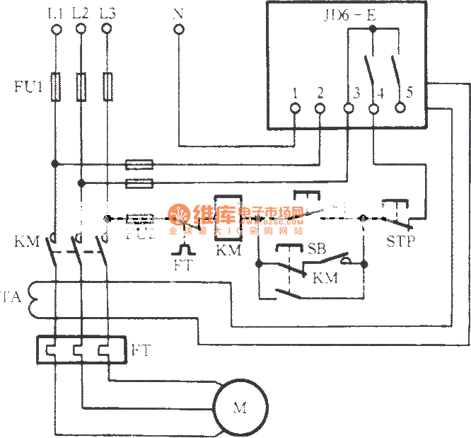 The motor protection circuit with leakage relay for Relay motor control circuit