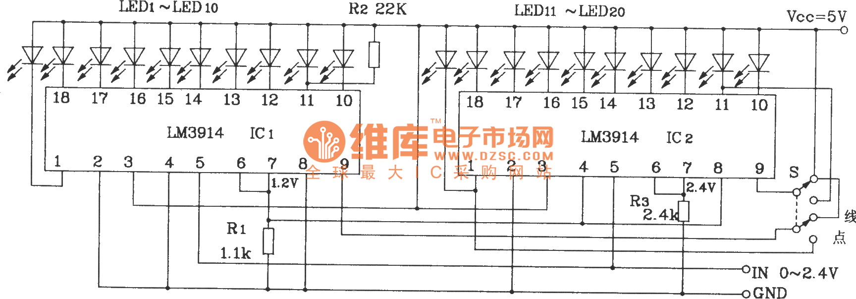 20 Bit Led Line Conversion Circuit With Two Lm3914 Comparatorledflasher Ledandlightcircuit Diagram