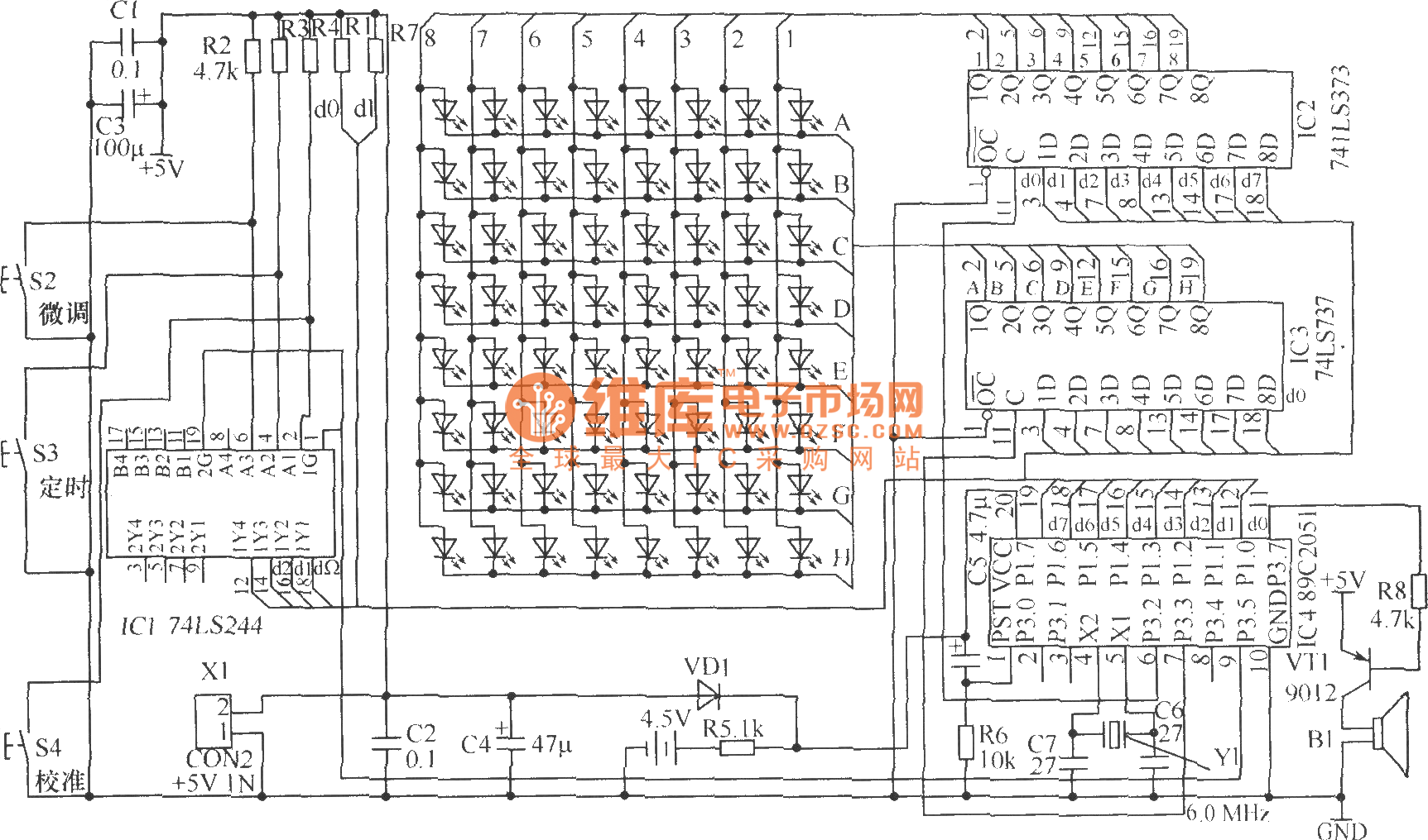 led flowing display electronic clock hardware circuit - led and light circuit