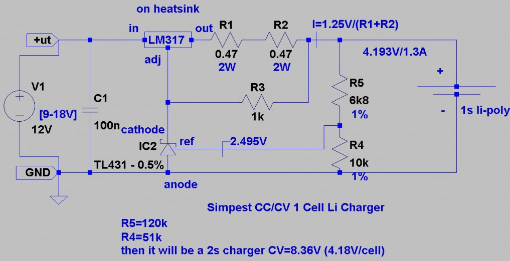 Simplest diy li polymer charger schematic on lipo battery charging circuit