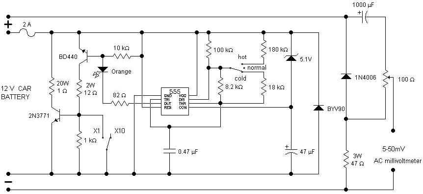 Battery Tester Schematic : Car battery tester measuring and test circuit
