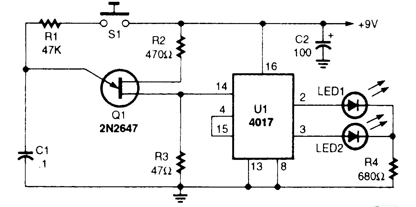 electronic coin tosser - basic circuit