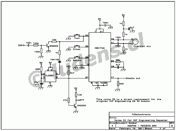 voice identifier for a repeater station - amplifier circuit - circuit diagram