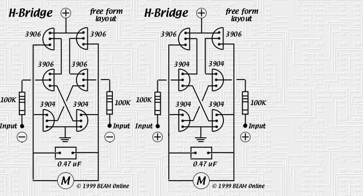 6-transistor h-bridge - basic circuit