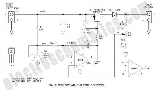 3a 6v  12v solar charge control - basic circuit - circuit diagram