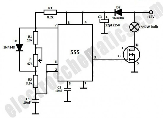 dim 12v light bulb with 555 ic - sensor circuit