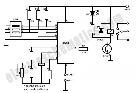 0 3 second to 10 hours timer relay with 4541 ic - control circuit - circuit diagram