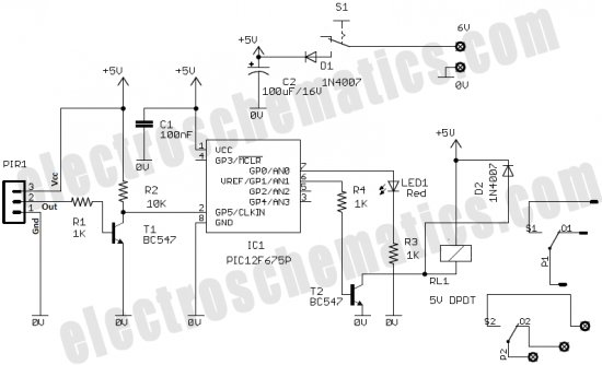 pic12f675 microcontroller based security alarm circuit - alarm control
