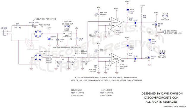 ac line under  over voltage alarm circuit - control circuit - circuit diagram