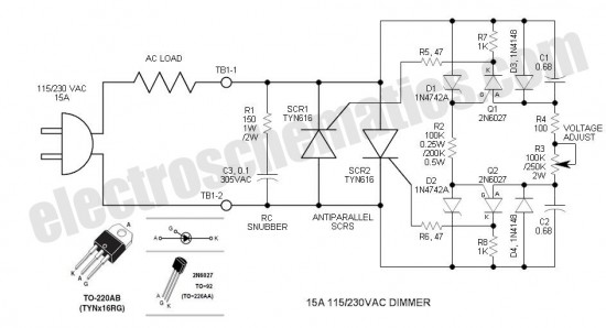 scr phase control dimmer circuit - basic circuit