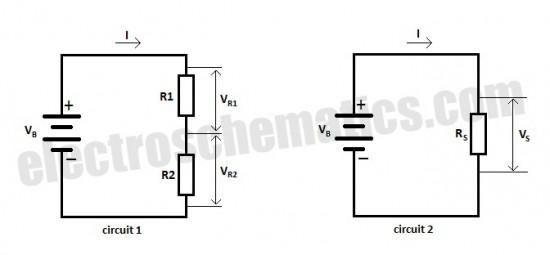 resistors in series - basic circuit - circuit diagram