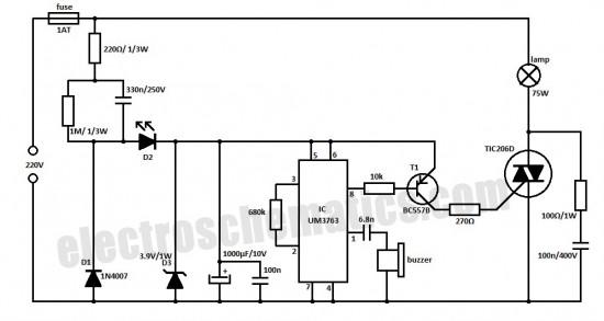 whistle light switch - control circuit - circuit diagram