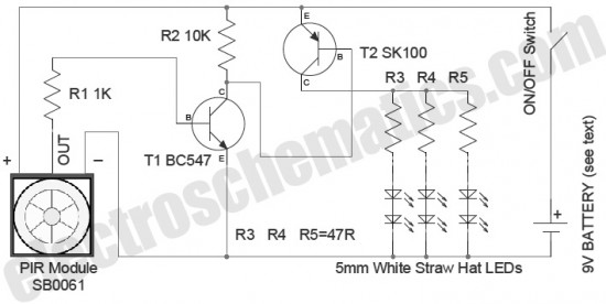 led security light with pir motion sensor - led and light circuit - circuit diagram