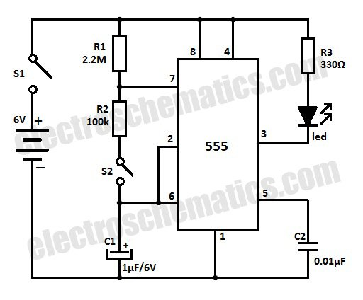 test human reaction time with the 555 ic - control circuit - circuit diagram