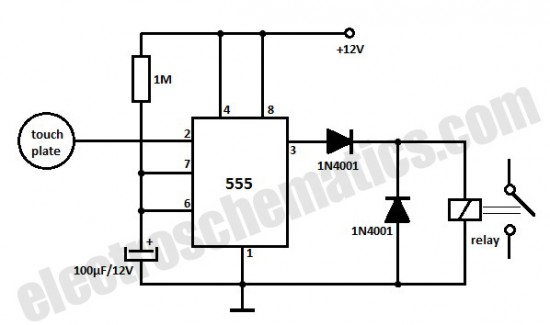 touch sensor switch circuit with 555 timer