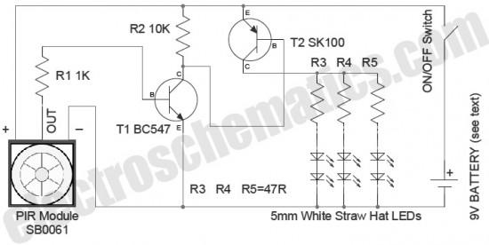 led security light with pir motion sensor circuit