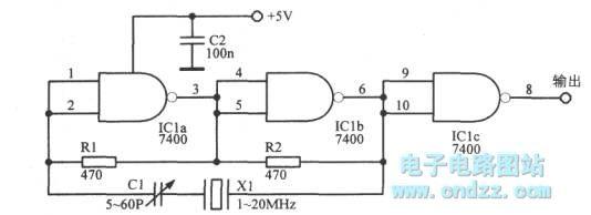 u0026quot nand u0026quot  gate ttl crystal oscillator - signal processing - circuit diagram
