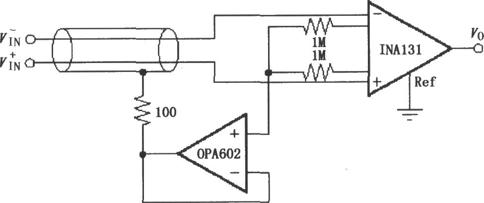 ina131 configuration of the shield drive circuit - basic circuit - circuit diagram