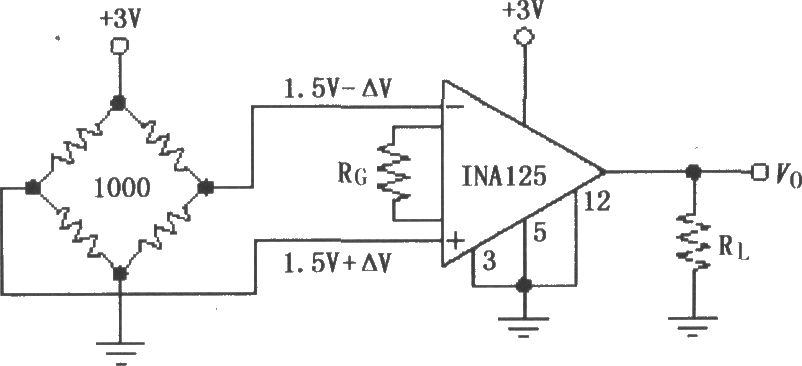 single power resistor bridge constructed by the ina125