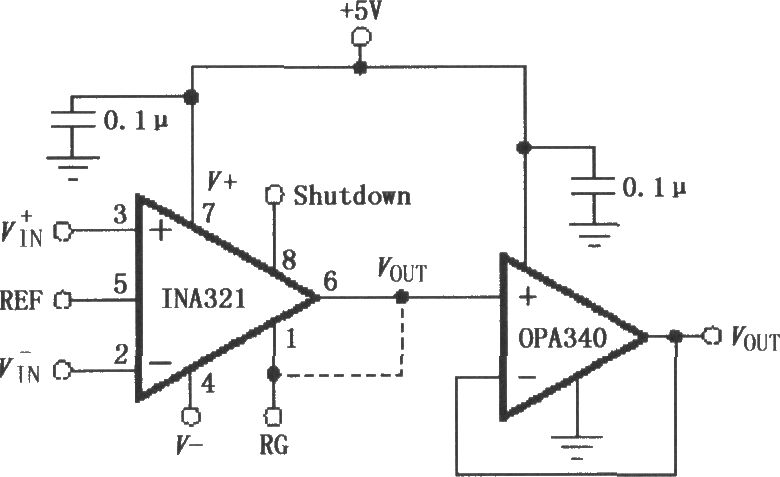 the opa340 composed of ina321  322 output buffer circuit - amplifier circuit