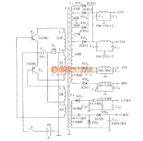 High-frequency high-voltage oscillator circuit (DC voltage converter )