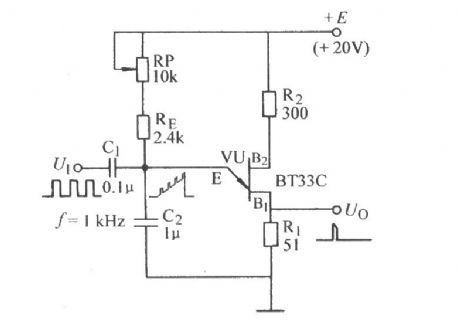 Single-junction transistor self-excited multivibrator frequency dividing circuit