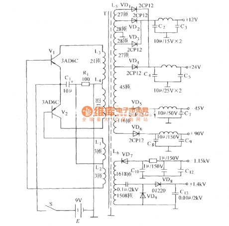 The DC voltage converter of high-frequency high-voltage oscillator circuit