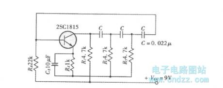 The example of phase-shift oscillator circuit