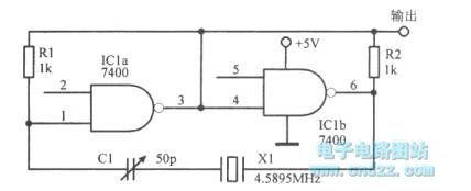 The 4.59MHz oscillator with TTL circuit