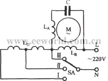 3 Phase Motor Winding Diagrams http://www.seekic.com/circuit_diagram/Basic_Circuit/The_winding_tap_T__connection_three_speed_circuit_of_single_phase_motor.html