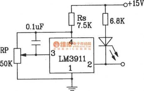 Two-supply temperature measurement circuit composed of LM3911 monolithic temperature control integrated circuit