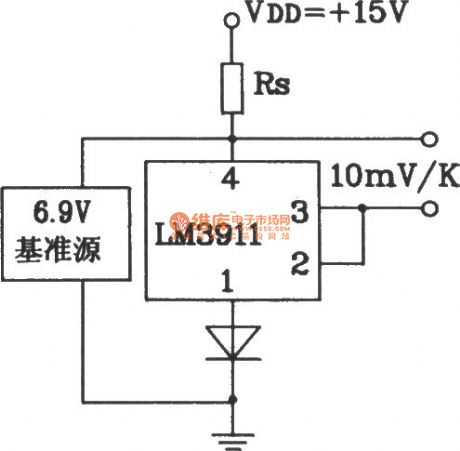 Plus benchmark power supply temperature detection circuit composed of LM3911